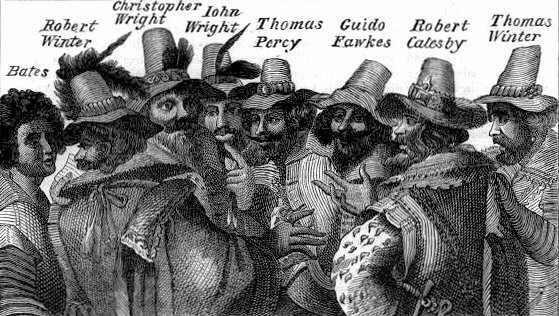 Gunpowder plot conspirators with Guy Fawkes