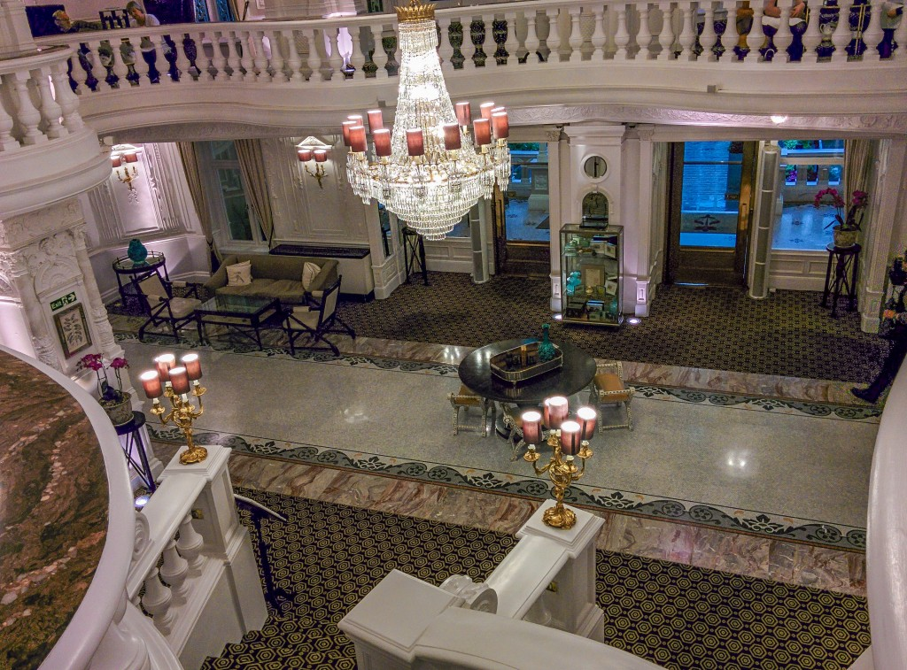 St Ermins hotel sweeping staircase in London