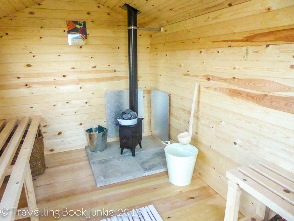 Inside sauna Amber BEll Tent Norfolk Glamping