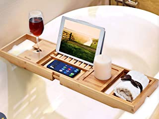 Bamboo bath tray with space for your book, wine glass, candle and soap. Perfect for a relaxing bubble bath