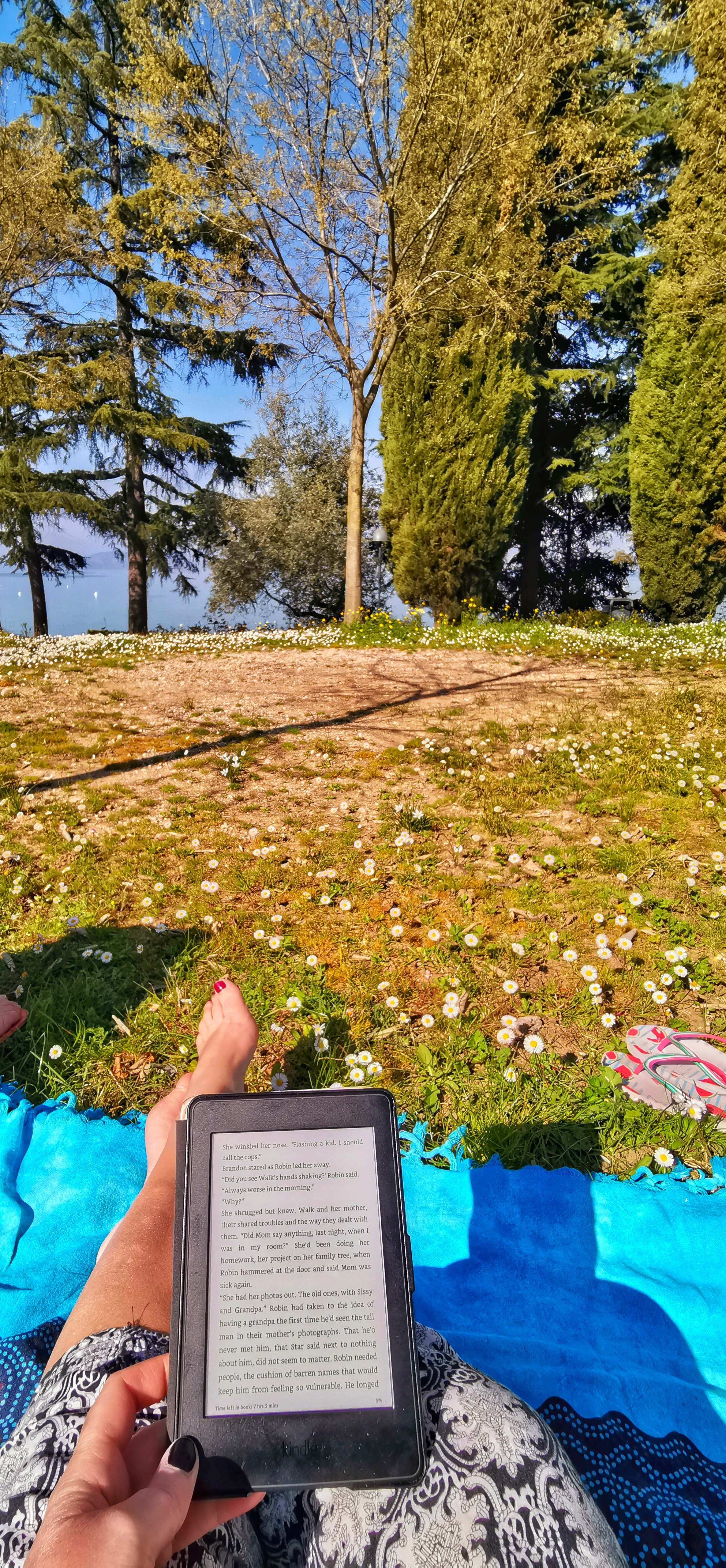 reading on the shores of Lake Garda