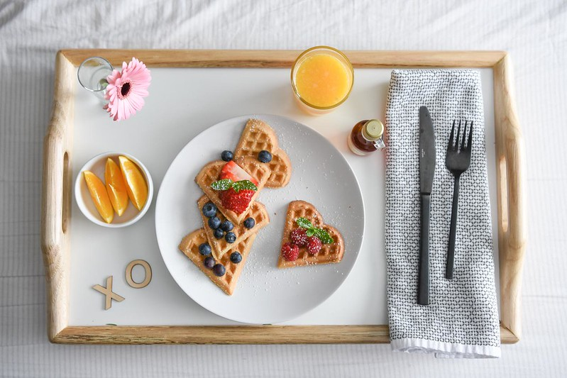 Breakfast in bed can be done at any time of year, but is a must on Valentine's Day