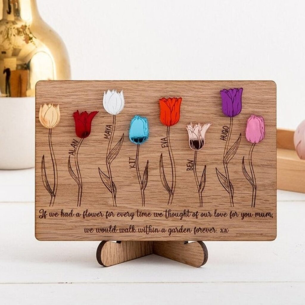 Tulip flower wooden plaque, a great Mother's Day idea