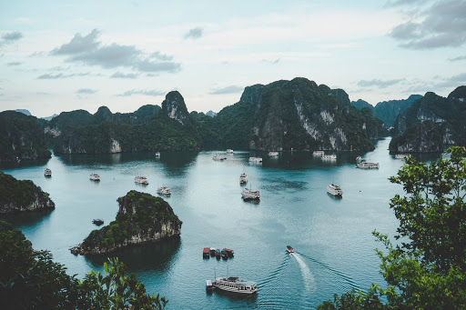 Halong Bay  is known for its emerald waters and thousands of towering limestone islands topped by rainforests.