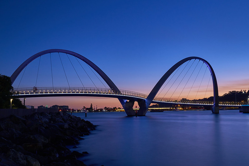 Perth Australia as the sun sets during the blue hour