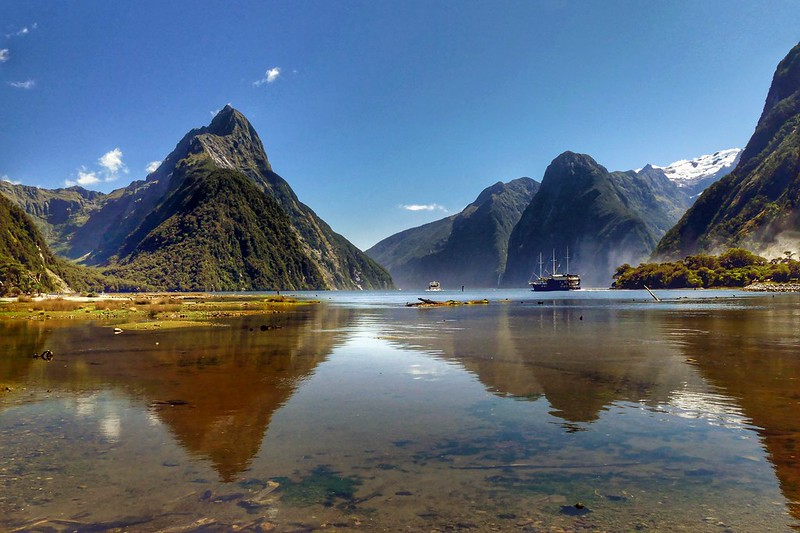 Milford Sound in New Zealand is a popular place to visit when traveling in Iceland.